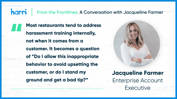 from the frontlines Jacqueline Farmer discusses workplace harassment in hospitality