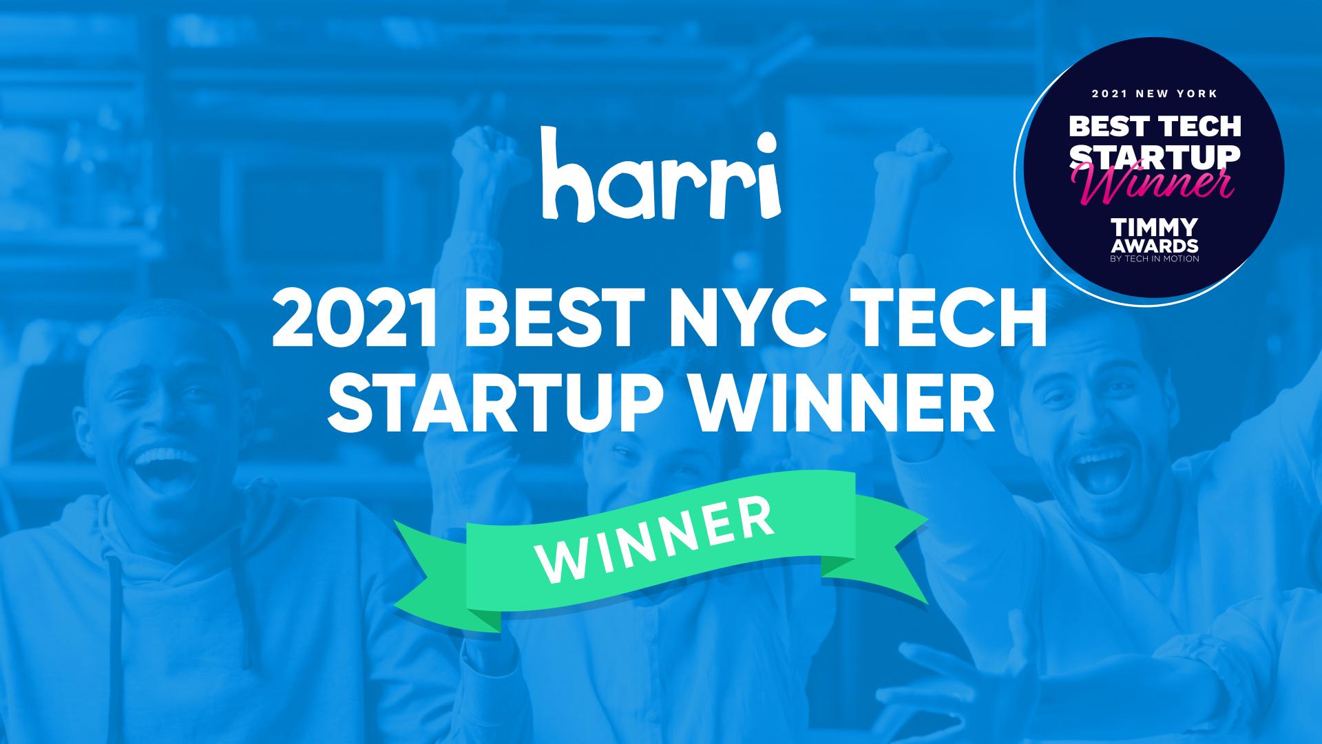 harri nyc timmy awards winner 2021 best tech startup